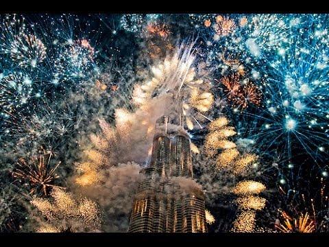 Dubai Burj Khalifa 2014 Midnight Fireworks Full Show Hd Youtube