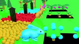 동요와 아이 노래 컬러공 그리고 토끼   색깔놀이송  …