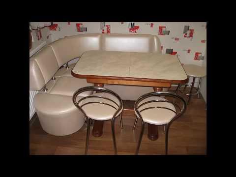 Кухонный уголок модель 777 с закруглениями и стол Элегант раздвижной  в интерьере кухни