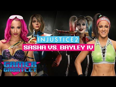 Sasha Banks vs. Bayley IV - INJUSTICE 2: PEPPER & HOT SAUCE CHALLENGE — Gamer Gauntlet