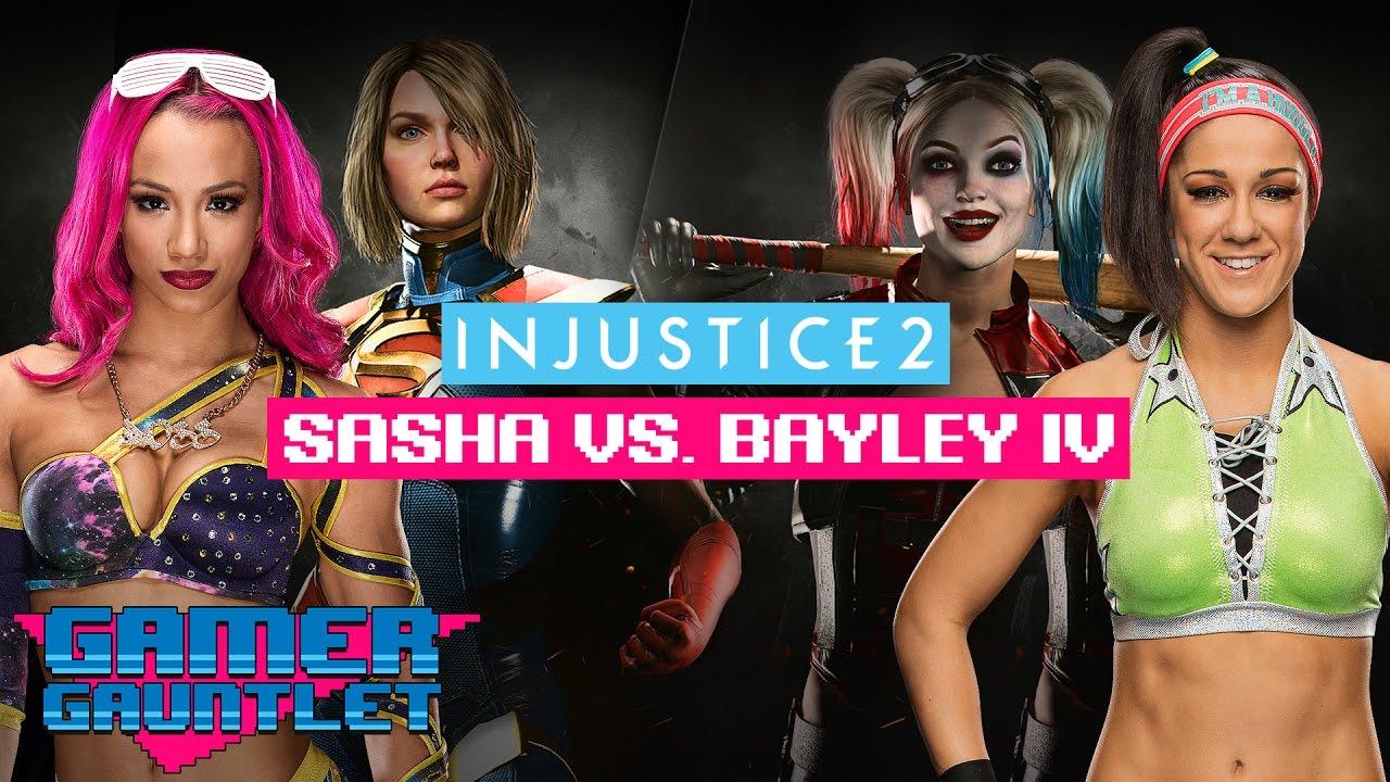 Sasha Banks vs  Bayley IV - INJUSTICE 2: PEPPER & HOT SAUCE CHALLENGE —  Gamer Gauntlet