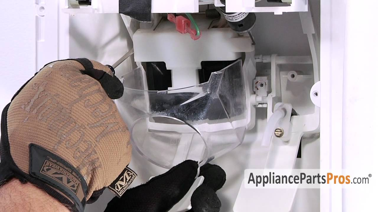whirlpool conquest ice maker diagram light switch 2 way wiring refrigerator dispenser chute door part wp2180353 how to replace youtube