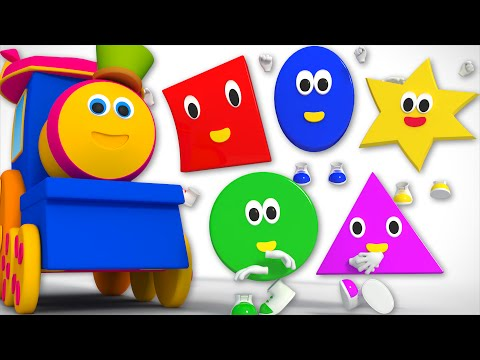 Thumbnail: bob the train | five little shapes jumping on the bed | nursery rhyme | 3d rhymes