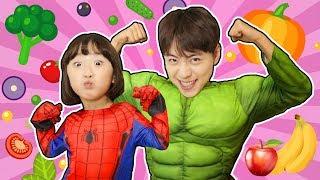 과일 야채 먹으면 슈퍼히어로가 된대요.와~캡틴아메리카 토르 앤트맨 변신! Superhero Eat Healthy Vegetables - 마슈토이 Mashu ToysReview