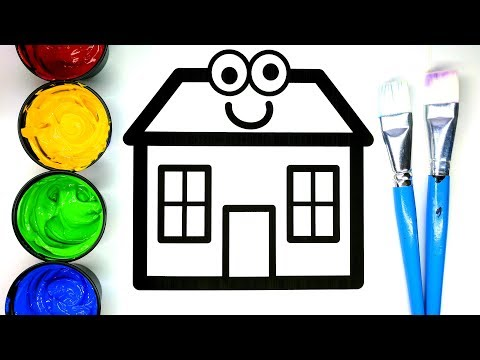 Thumbnail: Painting Cute House and Flower Painting Pages, Learn Painting and to Color for Baby
