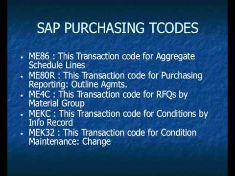 SAP Purchasing ( MM - PUR ) Transaction Codes