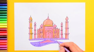 How to draw and color the Taj Mahal