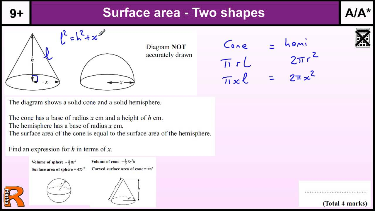 Surface Area Of Cone And Hemisphere Gcse Maths Higher Revision Exam Paper  Practice & Help
