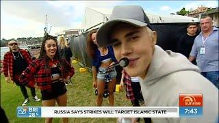 Justin Bieber : Hi, mom | Backstage on Sunrise on Channel 7 | Sydney, Australia, September 30, 2015
