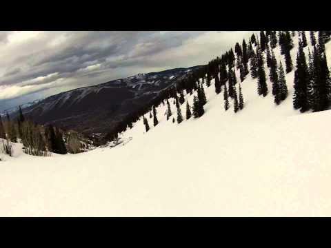SKIING ASPEN MOUNTAIN COLORADO TOP TO BOTTOM APRIL 5 2013