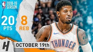 Paul George Full Highlights Thunder vs Clippers 2018.10.19 - 20 Points, 8 Reb