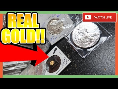 REAL GOLD COIN!! HUGE SILVER COIN PACKAGE!! + COIN ROLL HUNTING NICKELS!!