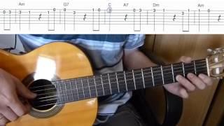 Песенка крокодила Гены - мелодия на гитаре + табы (Пусть бегут неуклюже…)
