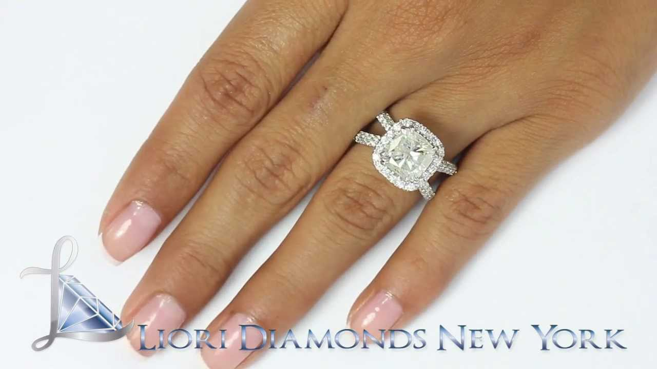 Ersold033  528 Carat Gsi2 Cushion Cut Diamond Engagement Ring 14k  White Gold Pave Halo