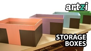 How to Cover Cardboard Box With Paper :: Making Storage Boxes
