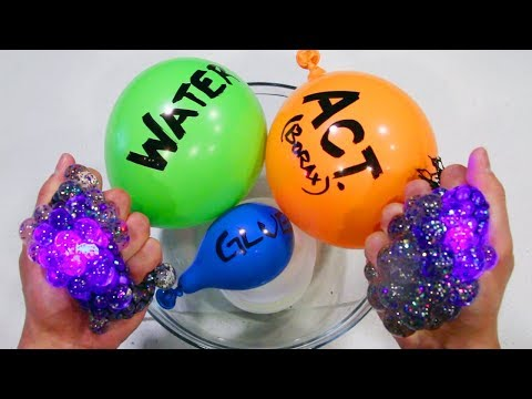 Making Slime with Balloons and Light Up Slime Stress Ball Cutting!