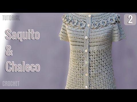 Saquito y Chaleco de verano para mujer, tejido a crochet ...