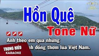 karaoke Hồn Quê Tone Nữ Nhạc Sống | Trọng Hiếu