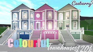 BLOXBURG | Colourful Townhouses 120k | Speed Build