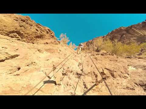 Climbing the cables to Picacho Peak~Sunset Trail