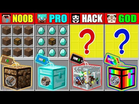 Minecraft NOOB vs PRO vs HACKER vs GOD SUPER SECRET CHEST CRAFTING CHALLENGE in Minecraft Animation