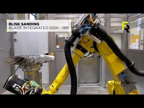 Robot turbine sanding - blisk grinding by accell + FANUC + FerRobotics
