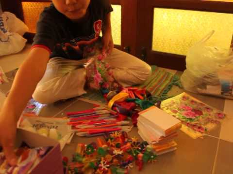 How Aman prepares the goody bags for his 8th birthday party.