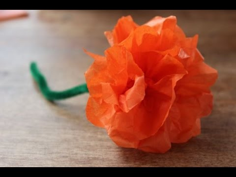 How To Make Flower With Paper Tissue Easy Step By Step Marigolds