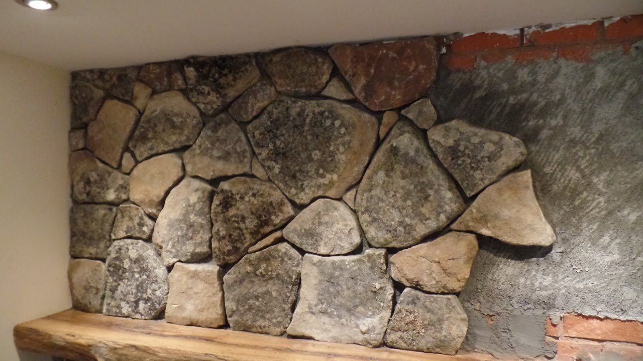 Natural Stone Veneer Installation Fireplace Youtube
