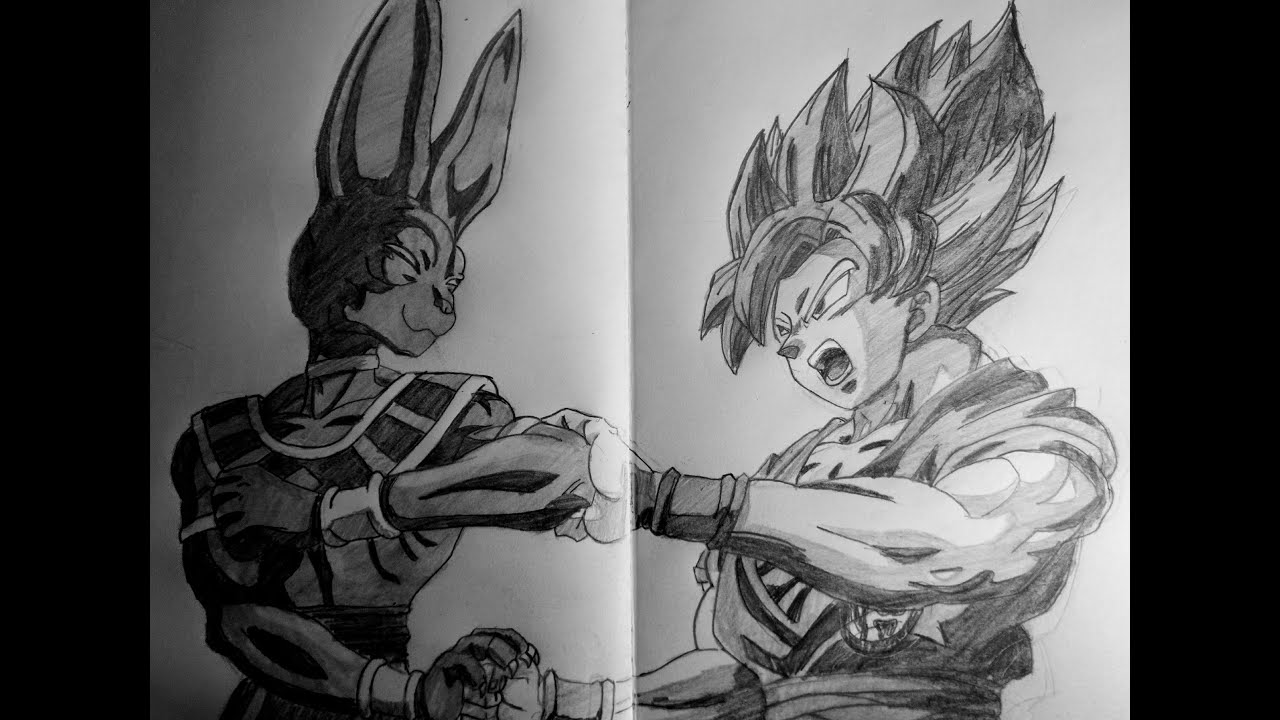 Speed drawing anime goku vs beerus dragon ball z battle of gods