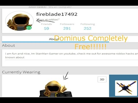 how to make a dominus in roblox for free