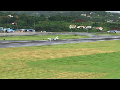 Britten Norman from Anguilla at AIA, runway 22 landing