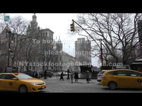 Manhattan Civic Center_72 #4K #Broadway #City Hall #traffic #Police #people #Taxi #bus #Cyclists