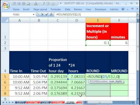excel magic trick 379 round to nearest 1 10th hour for payroll