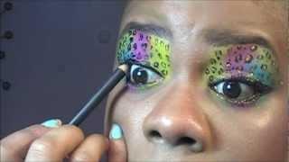 rainbow leopard eye makeup  tutorial using pigment
