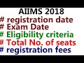 AIIMS 2018 Exam date, eligibility criteria || Total number of seats in AIIMS