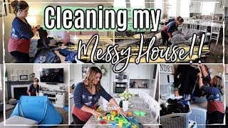 MESSY HOUSE CLEAN WITH ME 2019 :: REAL LIFE SPEED CLEANING MOTIVATION :: NEW COUCH & COMMAND CENTER