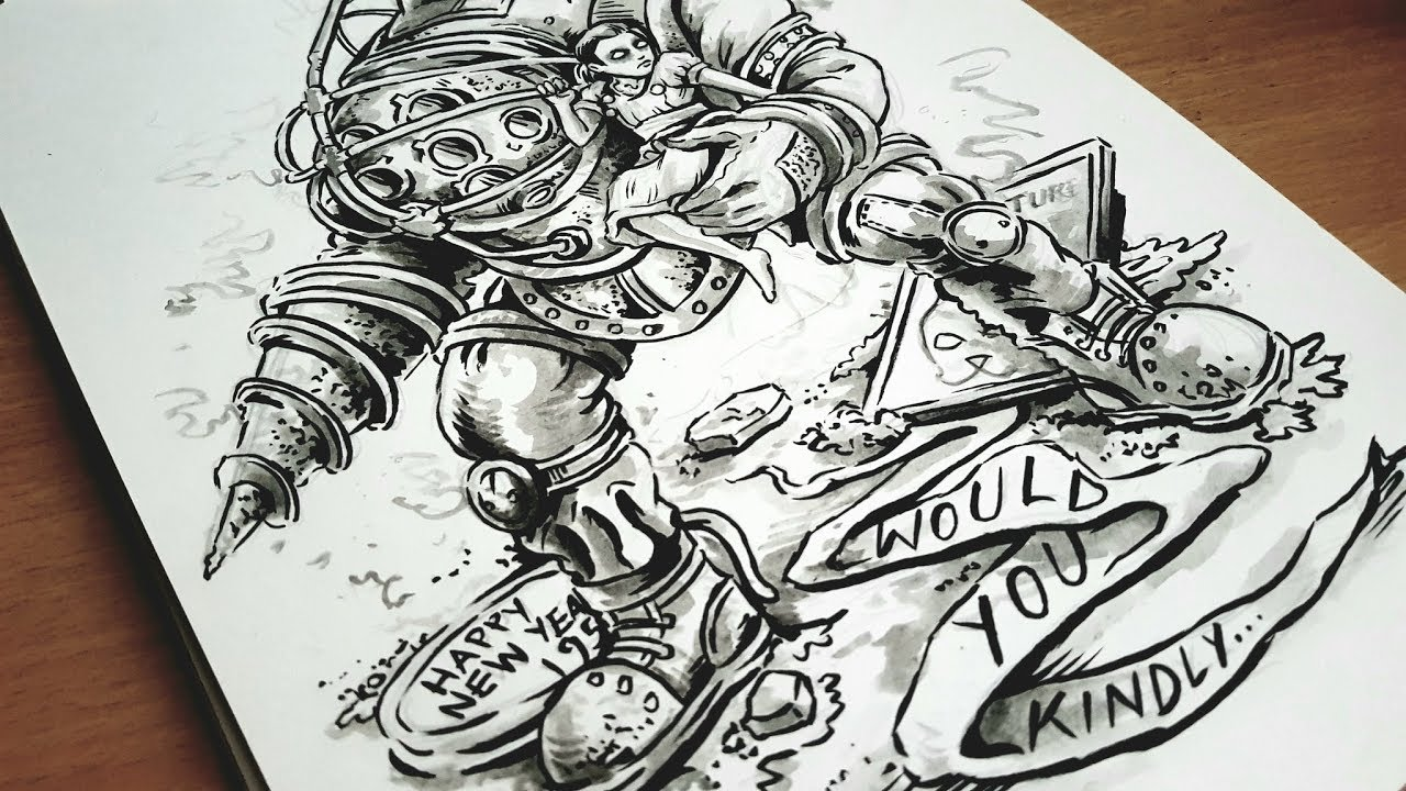 Bioshock S Big Daddy And Little Sister Speed Drawing By