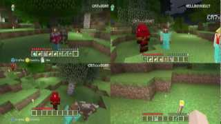 Minecraft party!!!.(4-player split-screen)