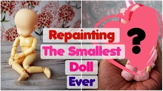 Repainting The Smallest BJD Doll Ever! - How To Draw Doll Face Eyes DIY Art Crafts Tutorial Handmade