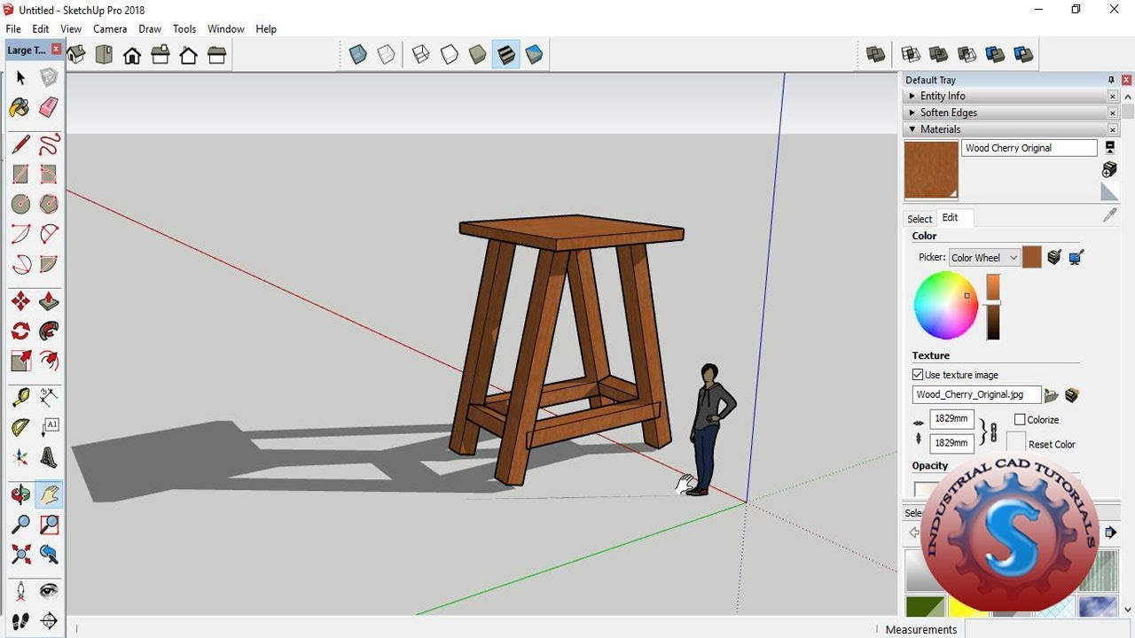 CREATE SIMPLE 3D STOOL MODELING & DESIGN WITH LEGS || SKETCHUP PRO