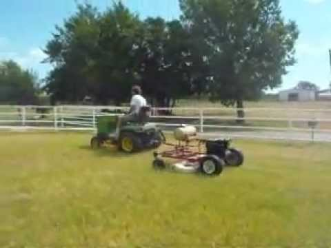 John Deere 318 With Homemade Finish Mower Youtube