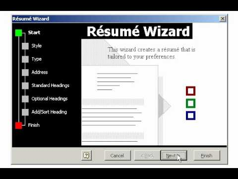 Creating a Resume using the Wizard in Microsoft Word