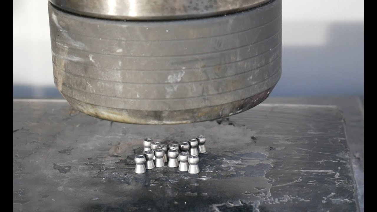 Crushing air rifle Bullets/pellets with Hydraulic Press
