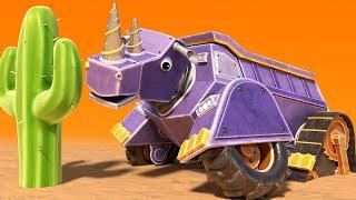 АнимаКары - НОСОРОГ САМОСВАЛ застрял в пустыне - мультфильмы для детей с машинами и животными