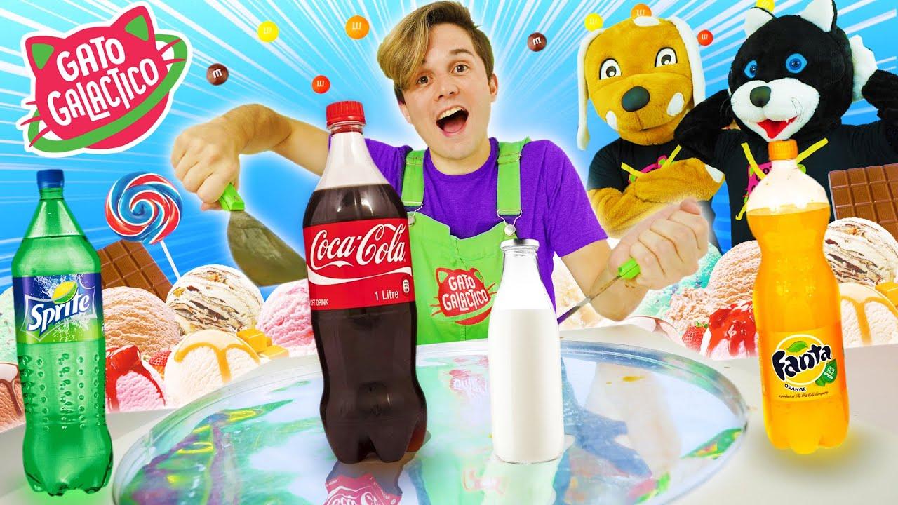 TRANSFORMEI TODOS OS REFRIGERANTES EM SORVETE DE ROLO !!| Cozinha Lunática Ice Cream Roll Coca-Cola