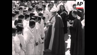 POPE PAUL VI BLESSES TRUCKS SENT TO INDIA  - NO SOUND