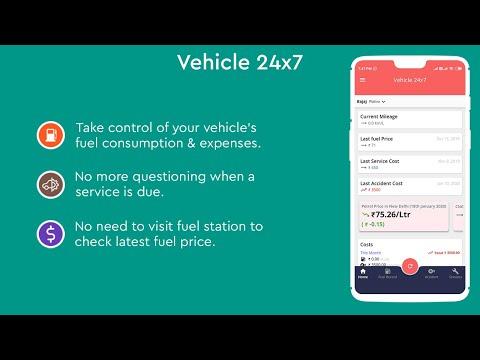 Vehicle 24x7 Mileage Calculator App Promo Video | fuel consumption calculator