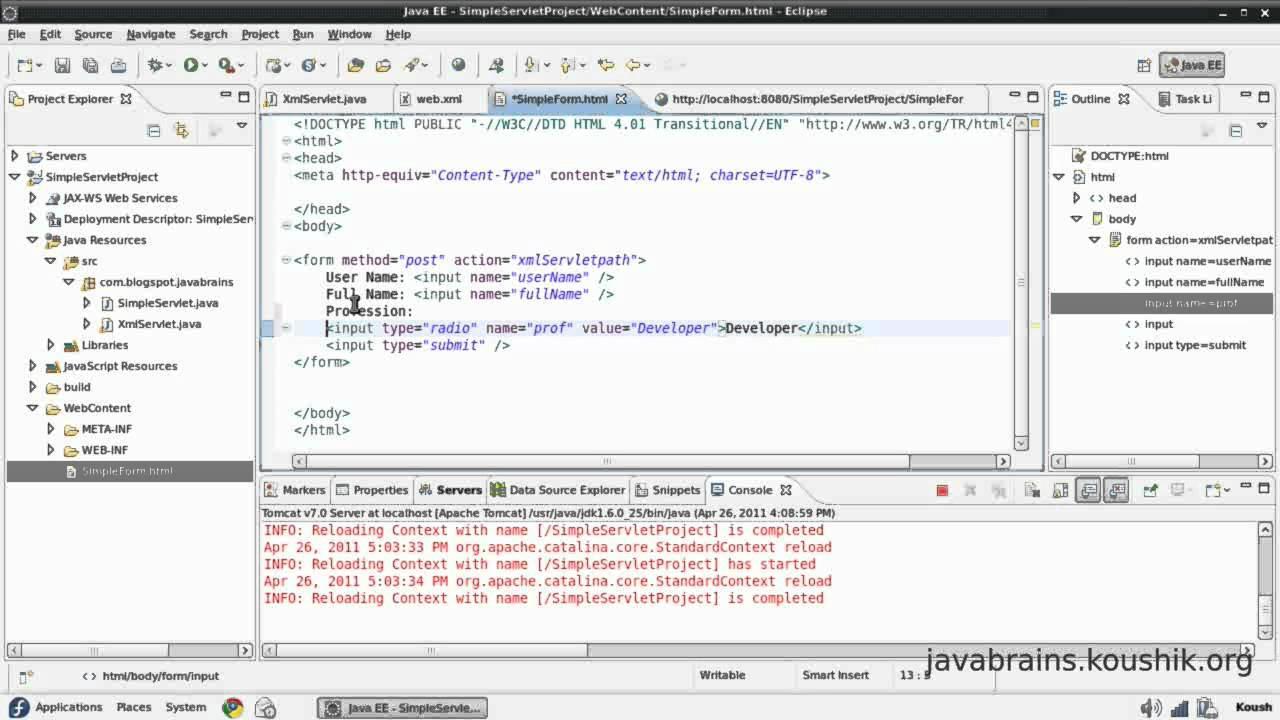 Jsps and servlets tutorial 06 passing more parameters youtube jsps and servlets tutorial 06 passing more parameters java brains baditri Gallery