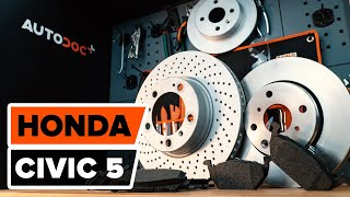 Byta bromsskivor, fram, bromsbelägg, fram HONDA CIVIC 5 Guide   Autodoc
